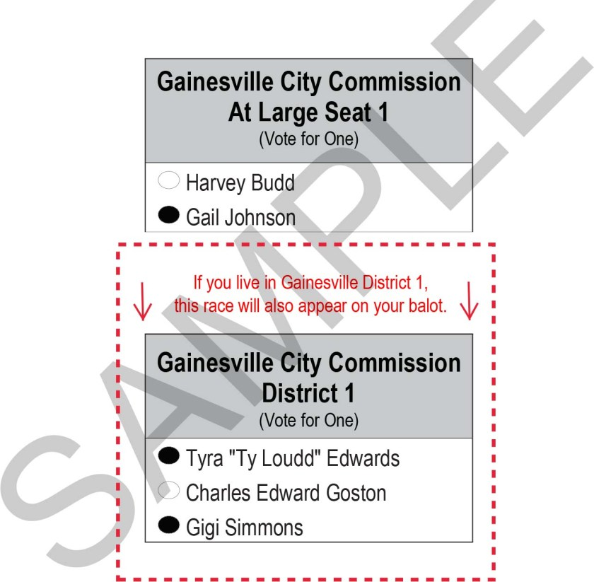 2018 Gainesville Sample Ballot